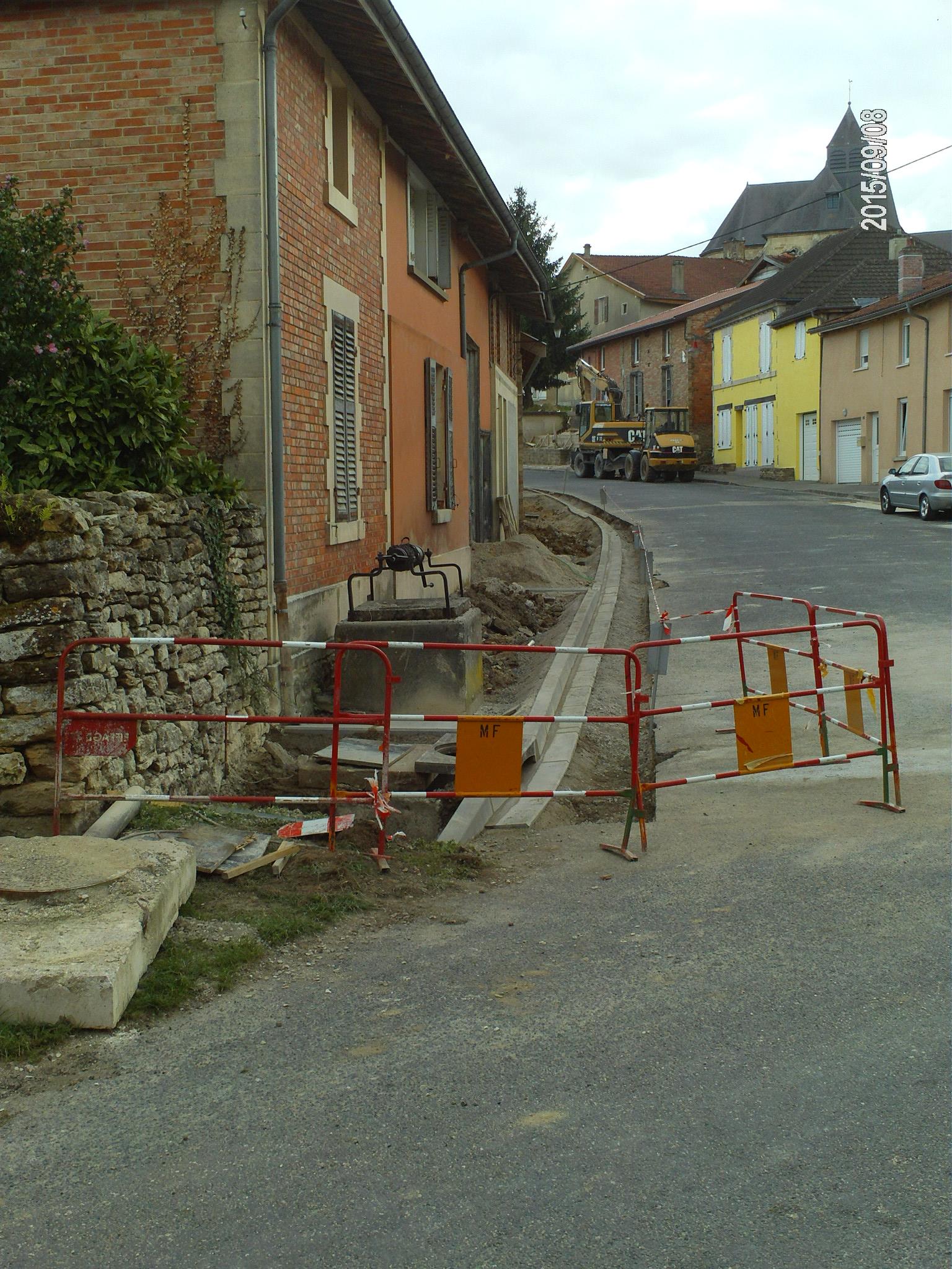 Travaux en cours rue des Sablons